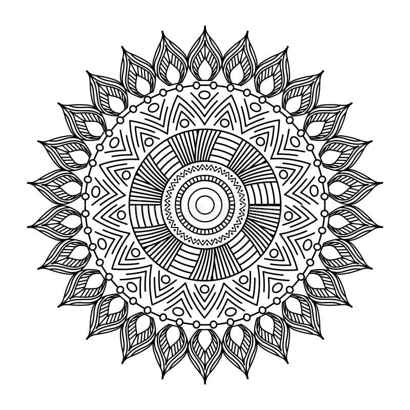 För blom- dekorativ etnisk design för färgläggning beståndsdelmeditation för Mandala vuxen vektor illustrationer