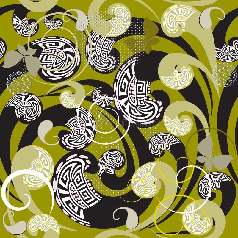 För blom- grekisk sömlös modell Paisley för elegans vektor Ornamenta royaltyfri illustrationer