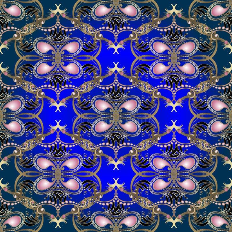 För blom- guld- sömlös modell Paisley för tappning vektor Blå bakgrund för dekorativ stil för elegans etnisk Rosa paisley blommor royaltyfri illustrationer