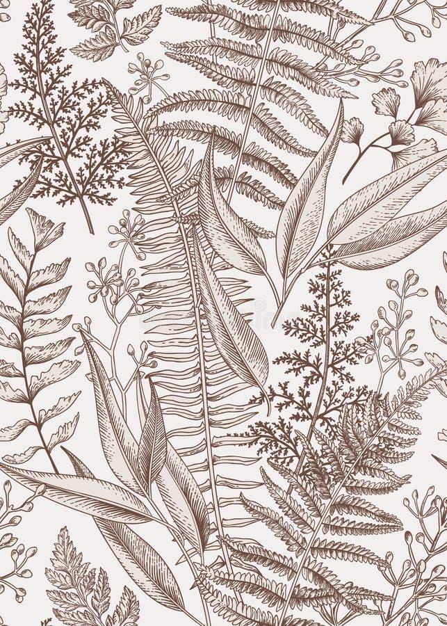 för blom- tappning för vektor för stil illustrationmodell för azaleas seamless vektor illustrationer