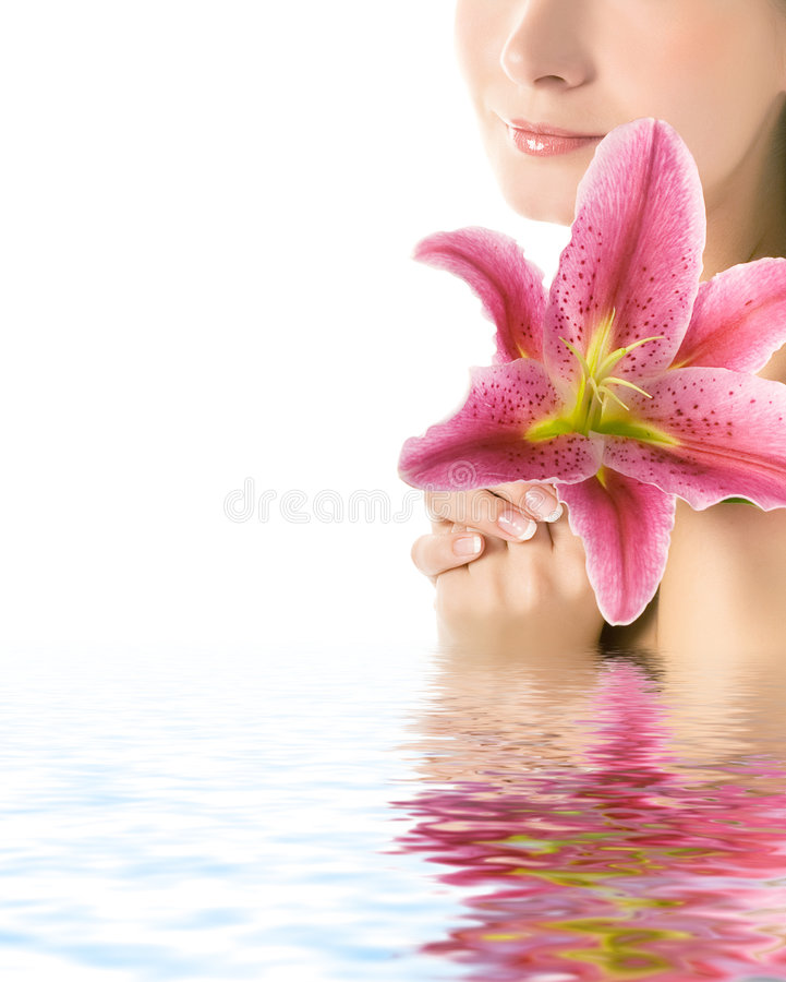 för blomma kvinna lilly royaltyfri bild