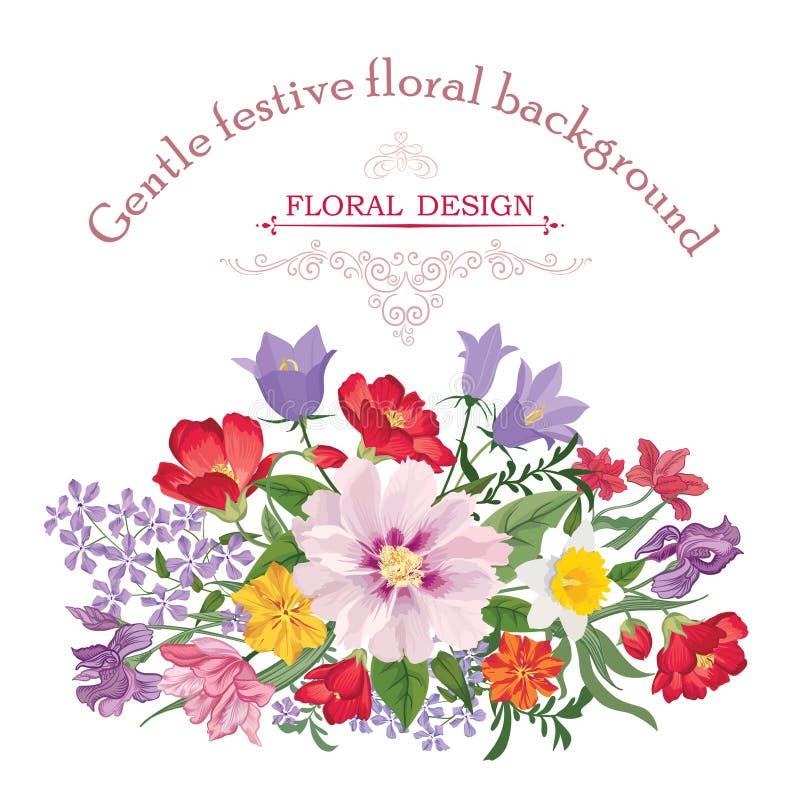 för blommabild för bukett ljus vektor den blom- ramen inramniner serie Krusidullhälsningkort Blommande liten bukett stock illustrationer