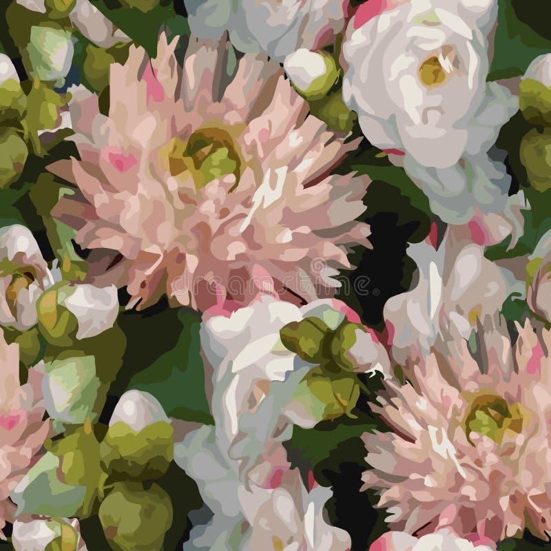 För blommabukett för vattenfärg 3D vektor för bakgrund för textur för modell för realistisk romantisk för sammansättning för pion stock illustrationer