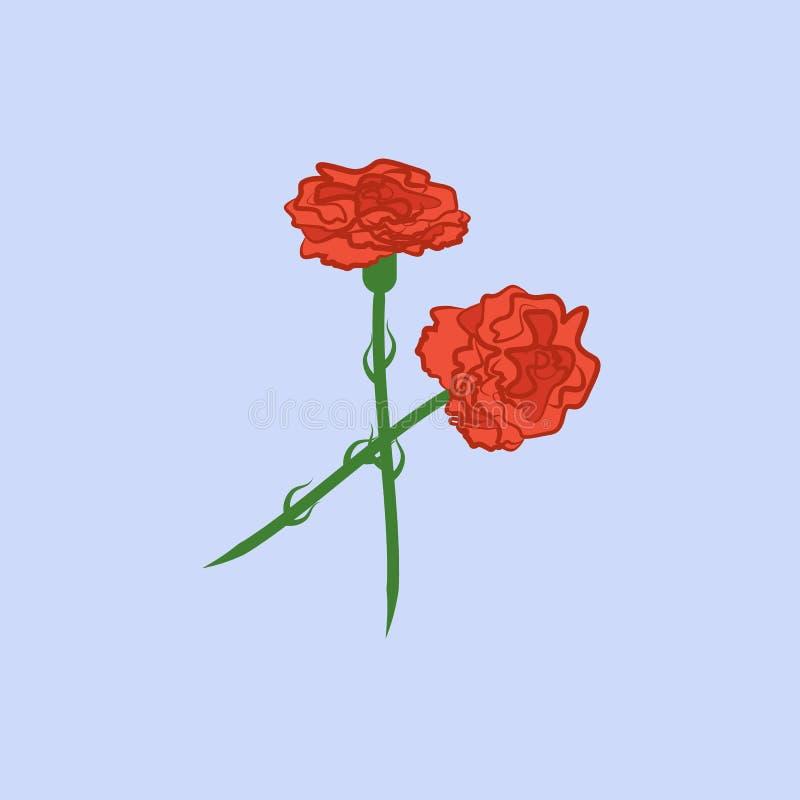För blommafärg för kryddnejlika röd symbol Beståndsdel av den kulöra härliga blommasymbolen för mobila begrepps- och rengöringsdu vektor illustrationer