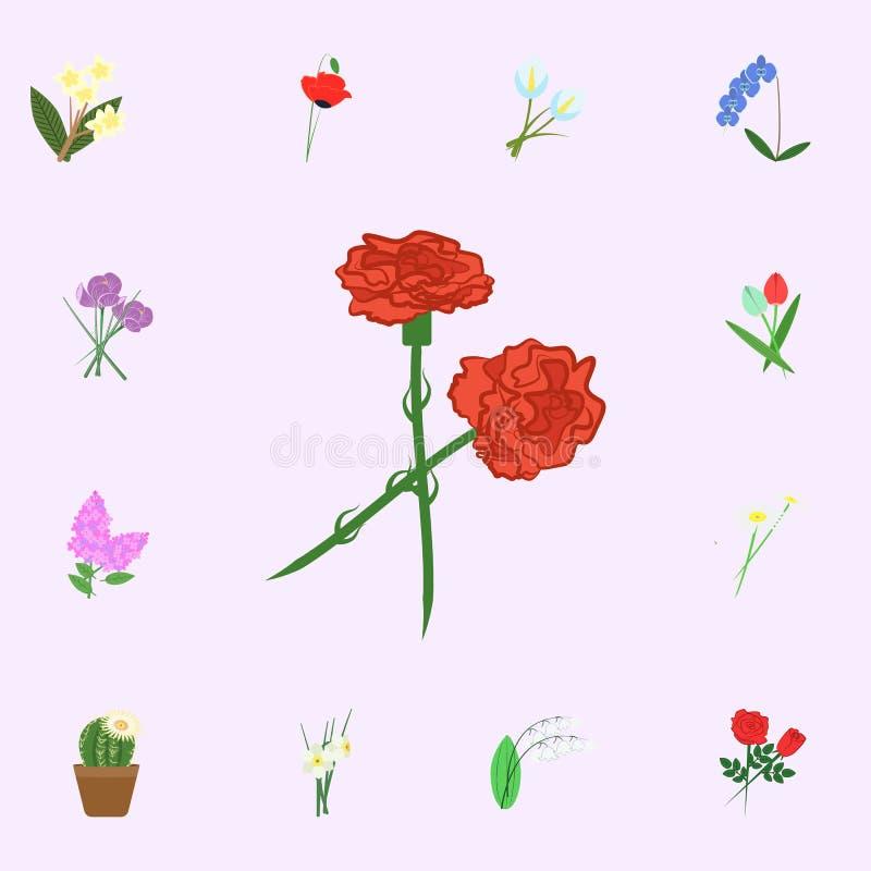 För blommafärg för kryddnejlika röd symbol Universell uppsättning för blommasymboler för rengöringsduk och mobil royaltyfri illustrationer