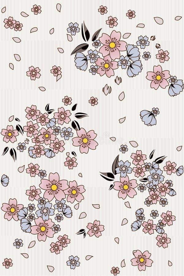 För blommagrupp för blom- sömlös modell gullig bakgrund royaltyfri illustrationer