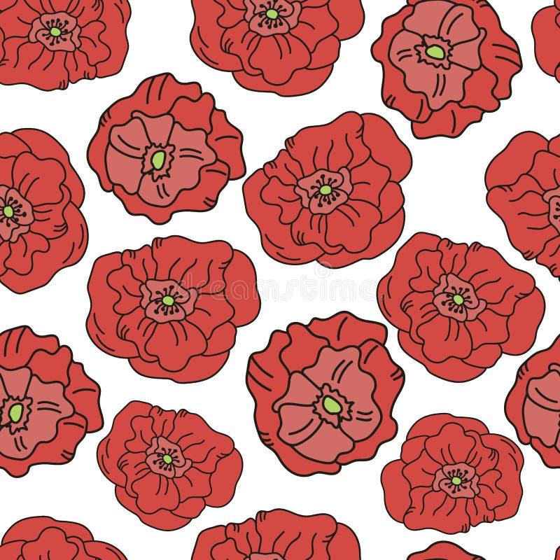 För blommamodell för vallmo vallmo för natur för garnering för vår för bakgrund för sömlös sommar tapetserar blom- illustrationen royaltyfri illustrationer