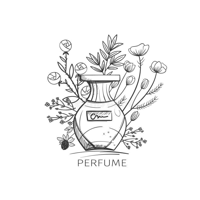 för blommaolja för flaska nödvändig doft stock illustrationer
