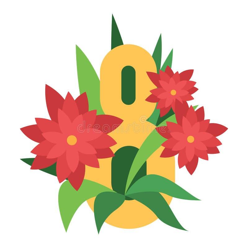 För blommavektor för åtta marsch illustration stock illustrationer