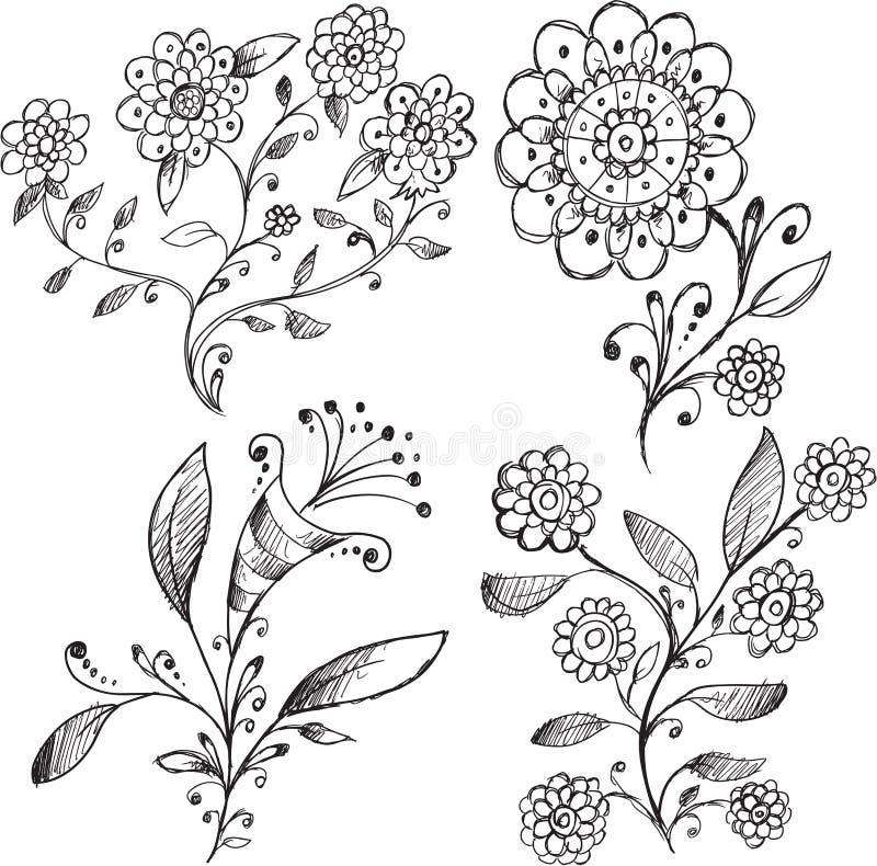 För blommavektor för klotter härlig uppsättning vektor illustrationer