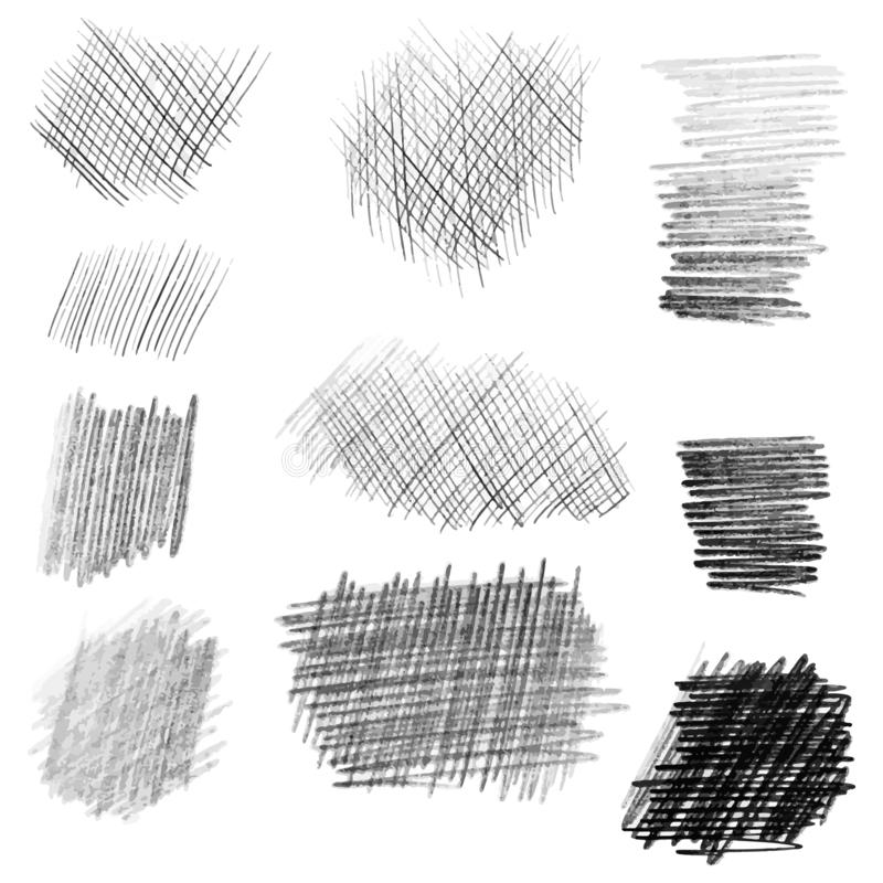 För blyertspennatextur för hand utdragen uppsättning, olika former royaltyfri illustrationer