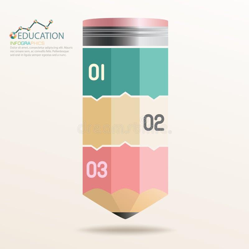 För blyertspennautbildning för information grafisk design för begrepp royaltyfri illustrationer