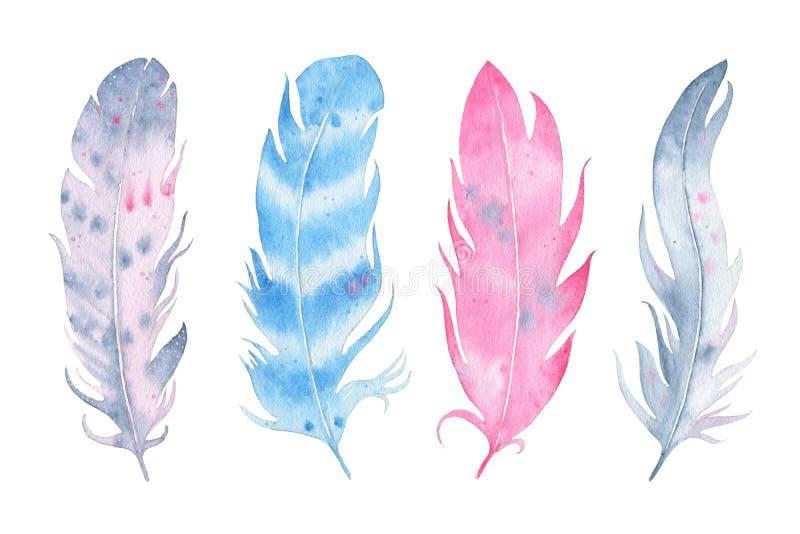 För bohofjäder för vattenfärg som hand dragen uppsättning isoleras på vit bakgrund stock illustrationer