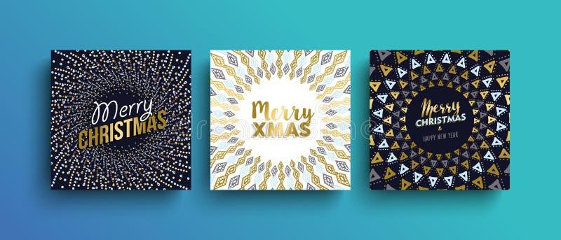 För bohohälsning för glad jul guld- uppsättning för kort stock illustrationer