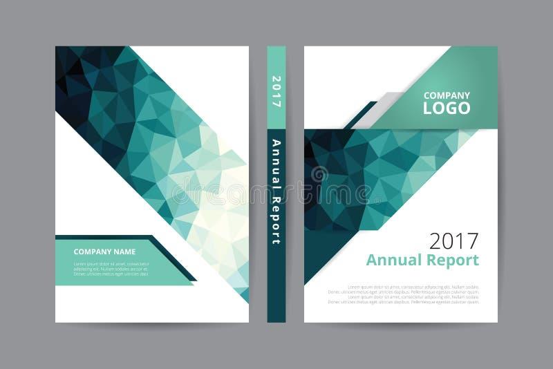 För bokdesign för årsrapport 2017 mall för främre och tillbaka räkning, tema för färg för polygon för gräsplan för blåa grå färge stock illustrationer