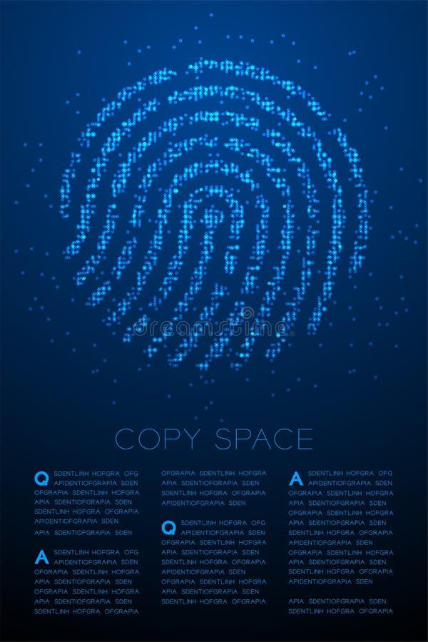 För Bokeh för fingeravtryckformpartikel illustration för färg för geometrisk cirkel för prick modell för PIXEL blå på blå lutning royaltyfri illustrationer