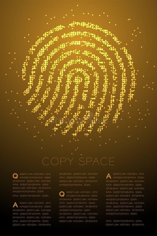 För Bokeh för fingeravtryckformpartikel illustration för färg för geometrisk cirkel för prick modell för PIXEL guld- på brun lutn vektor illustrationer