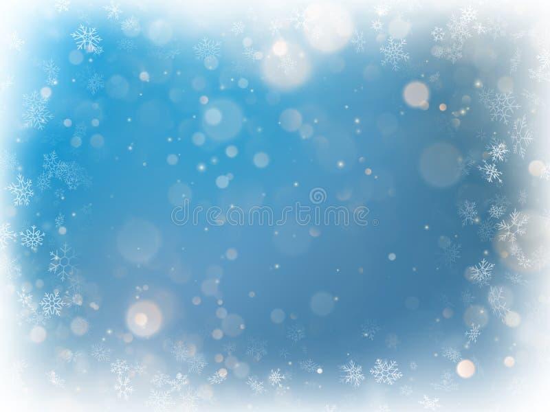 För bokehljus för jul blå suddig bakgrund Semestra den defocused glödande bakgrunden med blinkande stjärnor 10 eps royaltyfri illustrationer