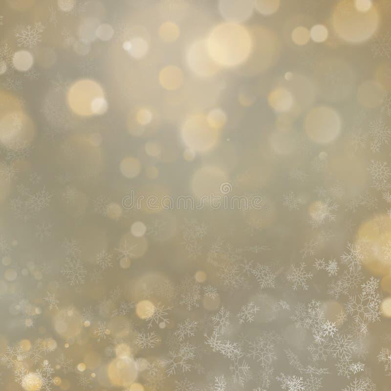 För bokehljus för jul och för nytt år guld- defocused bakgrund 10 eps royaltyfri illustrationer