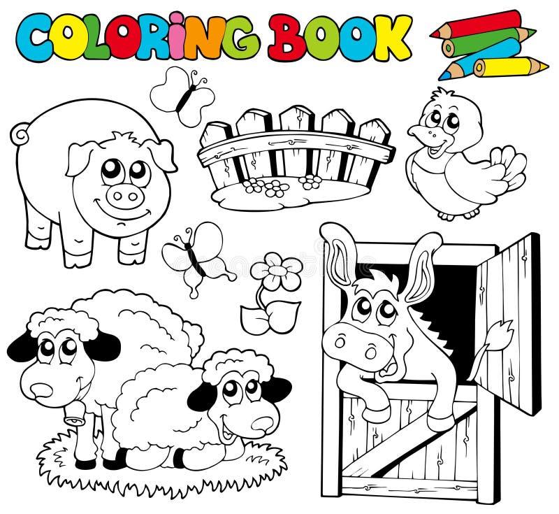 för bokfärgläggning för 2 djur lantgård royaltyfri illustrationer
