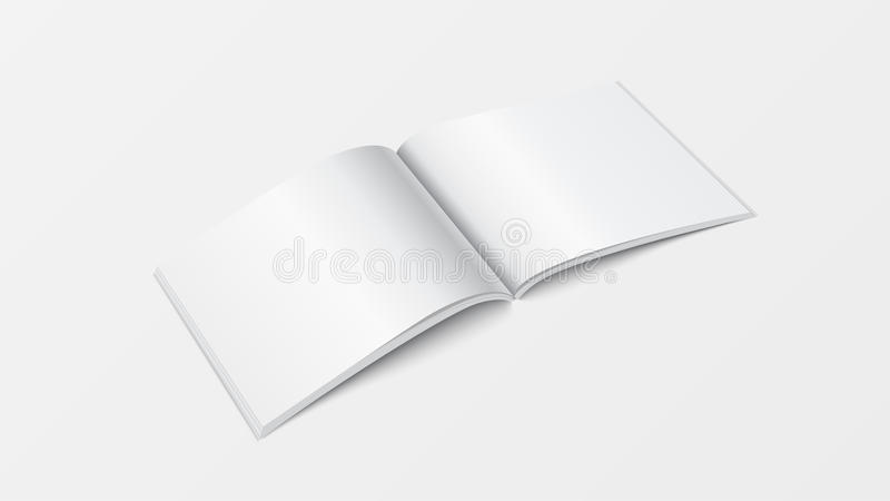 för bokmall för modell 3d öppen sikt för perspektiv Tom vit färg för häfte på vit bakgrund för utskrift av designen, brochur stock illustrationer