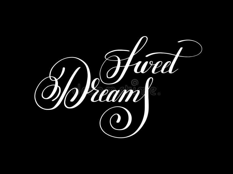 För bokstäverinskrift för söta drömmar handskriven inspirat för realitet vektor illustrationer