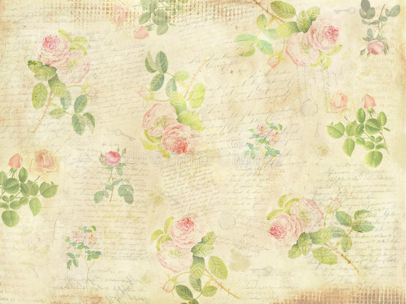 För bokstavstangenter för tappning blom- collage för bakgrund royaltyfri illustrationer
