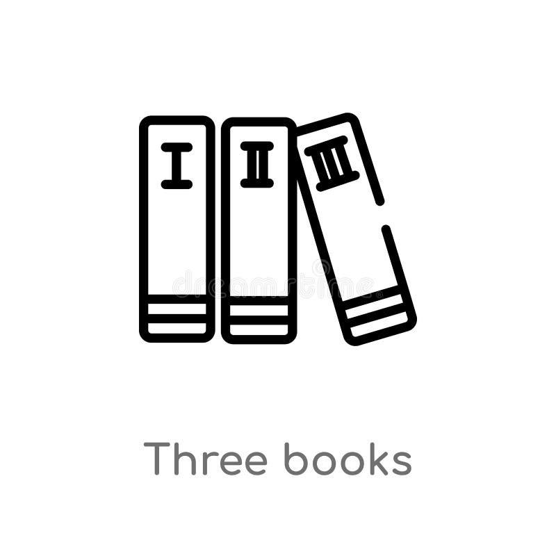 för bokvektor för översikt tre symbol isolerad svart enkel linje best?ndsdelillustration fr?n utbildningsbegrepp Redigerbar vekto stock illustrationer