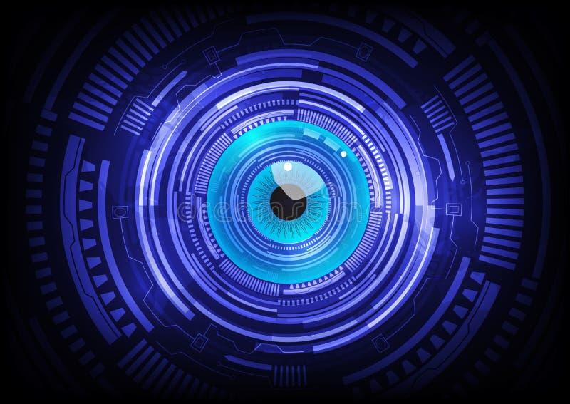 För bollabstrakt begrepp för blått öga teknologi för framtid för cyber vektor illustrationer