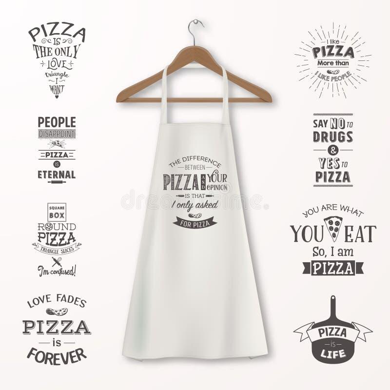 För bomullskök för vektorn ställde det realistiska vita förklädet med kläderträhängaren och citationstecken om pizza på in closeu stock illustrationer