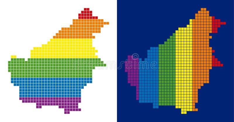 För Borneo för spektrum PIXEL prucken översikt ö royaltyfri illustrationer