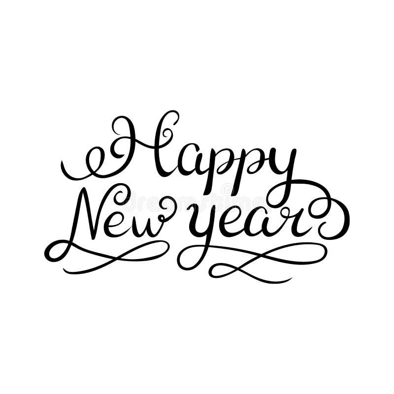 För borstehand för lyckligt nytt år som bokstäver isoleras på vit bakgrund också vektor för coreldrawillustration Kan användas fö royaltyfri illustrationer