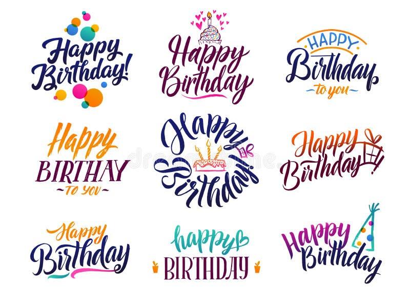 För borsteskrift för lycklig födelsedag elegant text Vektortyp med hand drog bokstäver vektor illustrationer