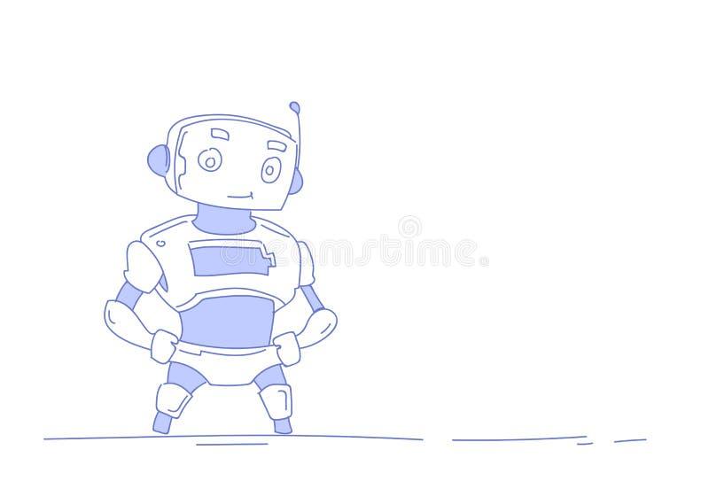 För bothjälpredan för den moderna roboten isolerade det gulliga begreppet för konstgjord intelligens horisontalvit bakgrund skiss royaltyfri illustrationer