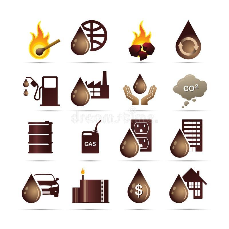 för bränslesymboler för energi fossil- olja stock illustrationer