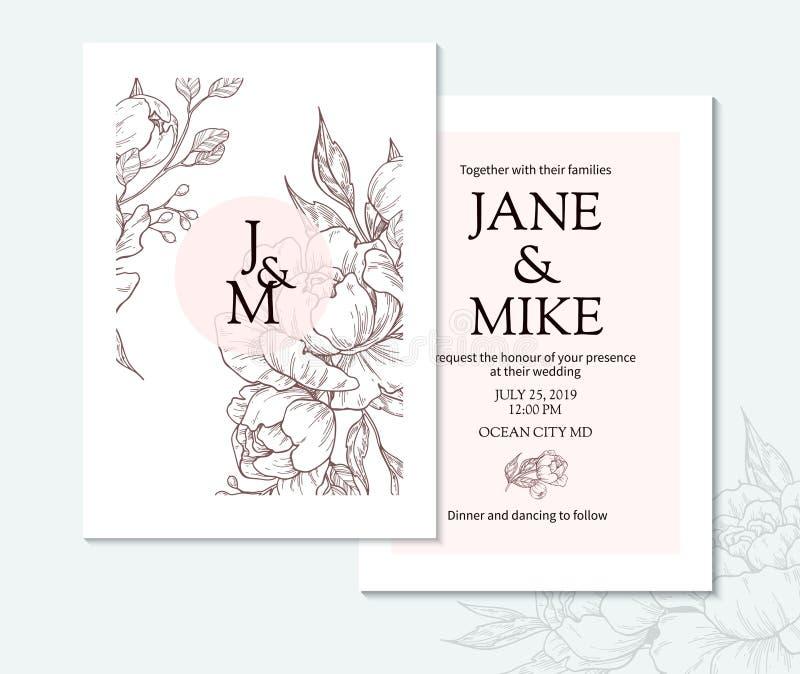 För bröllopinbjudan för tappning elegant mall för kort med vektorpionen och rosor stock illustrationer