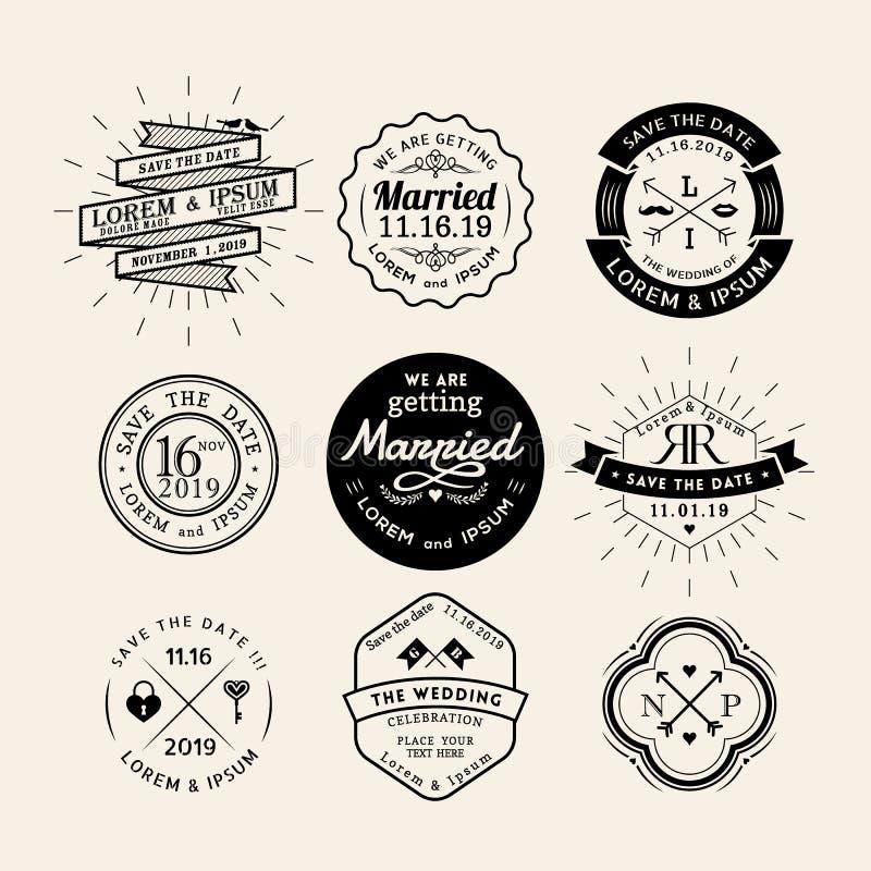 För brölloplogo för tappning retro beståndsdel för design för emblem för ram vektor illustrationer