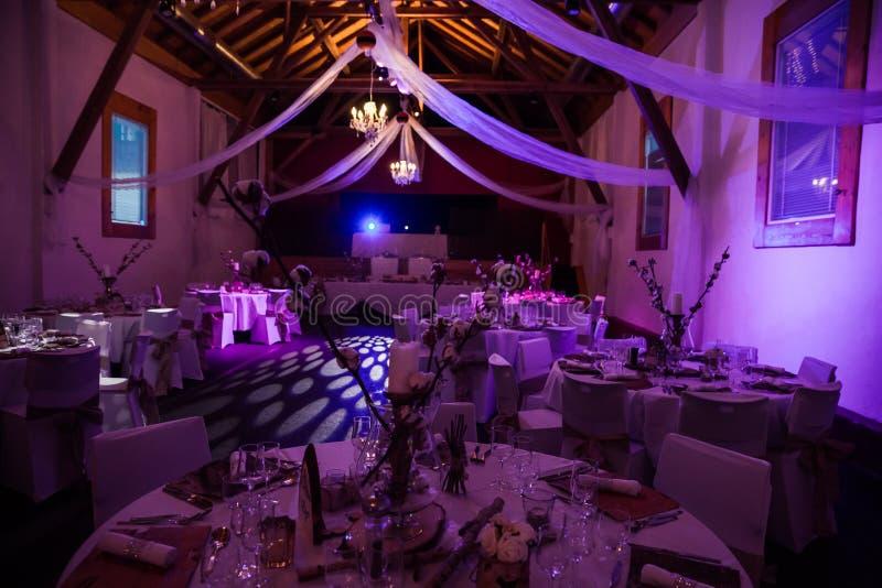 För brölloptabell för vinter Themed garnering i rosa belysning royaltyfri bild