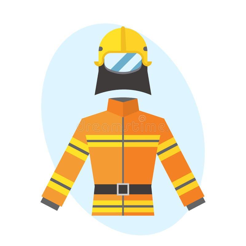 För brand-provexemplar för brandman yrkesmässig skyddande vektor för gul enhetlig utrustning för räddningsaktion kämpe för säkerh stock illustrationer