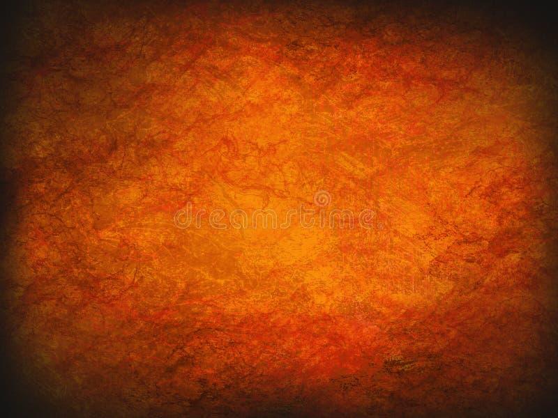 För brandgrunge för tappning abstrakt orange bakgrund med den ljusa mittstrålkastaren Modern textur med mörka hörn vektor illustrationer