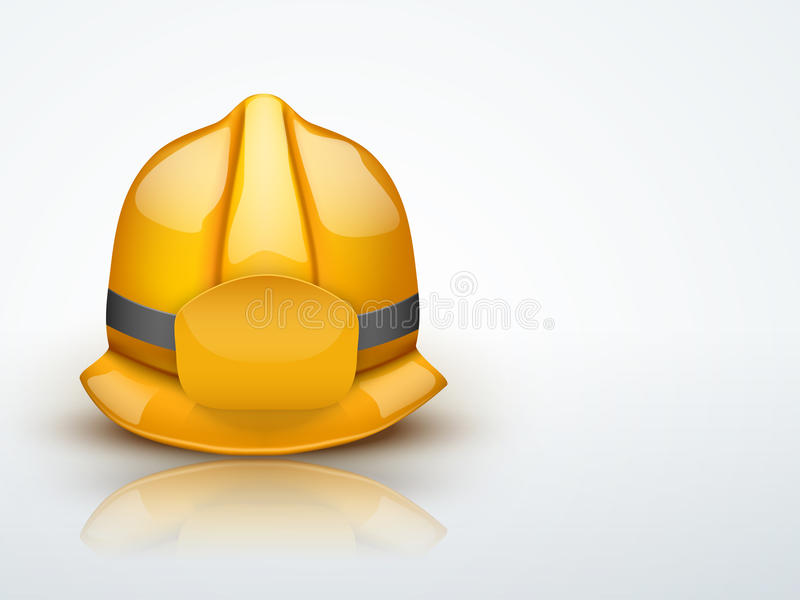 För brandmanhjälm för ljus bakgrund guld- vektor royaltyfri illustrationer