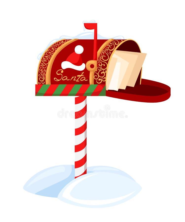 För brevlådavektor för jultomten s illustration av en bokstav för Santa Claus Merry Christmas och lyckligt nytt år Postönskelista stock illustrationer