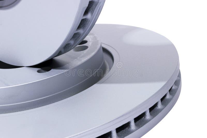för bromsbilen för bakgrund 3d den isolerade disketten framför white Auto delar Bromsdiskettrotor som isoleras på vit Bromsa skiv royaltyfri bild