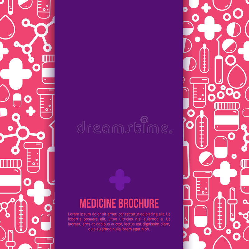 För broschyrdesign för hälsovård medicinsk orientering Vektorreklamblad i fyrkantigt format med översiktsapotekobjekt stock illustrationer