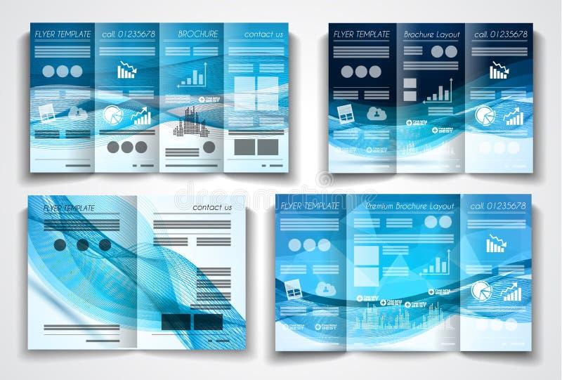 För broschyrmall för vektor trifold design eller reklambladorientering vektor illustrationer