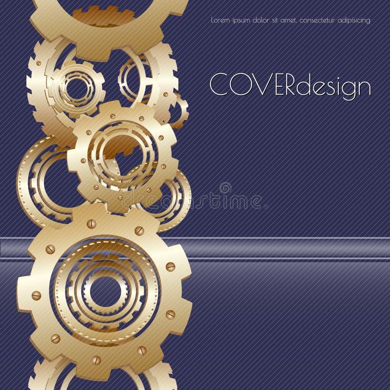För broschyrräkning för vektor fyrkantig design med guld- vektor illustrationer