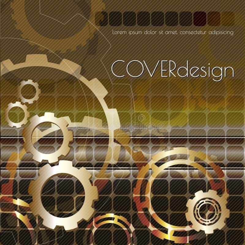 För broschyrräkning för vektor fyrkantig design med guld- kugghjul stock illustrationer