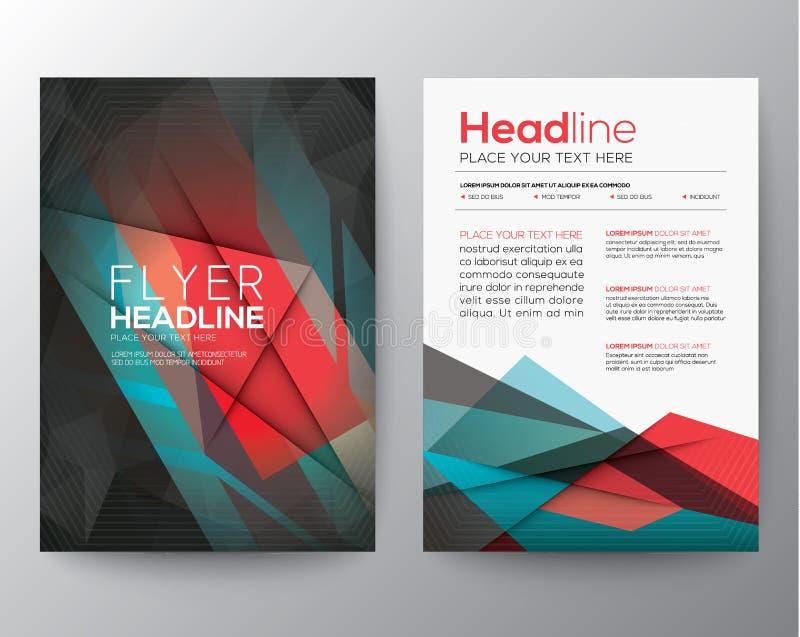 För broschyrreklamblad för abstrakt triangel geometrisk mall för orientering för design stock illustrationer
