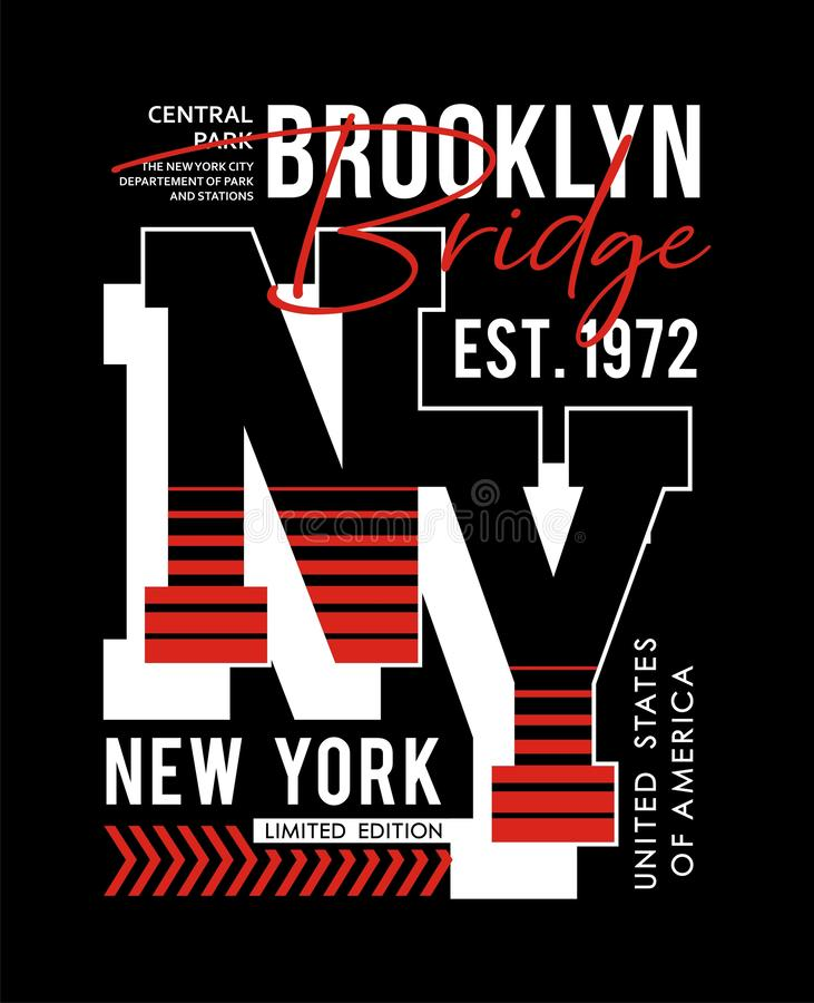 För brotypografi för NY Brooklyn tappning, för t-skjorta och dräkt, tryckmän, vektorer stock illustrationer