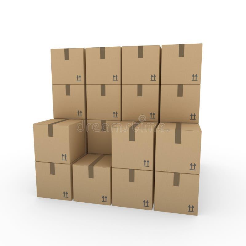 för brownpacke för ask 3d sändnings vektor illustrationer
